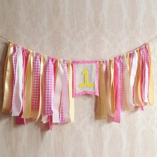 Girl's First Birthday Handmade Ribbon Bunting Banner