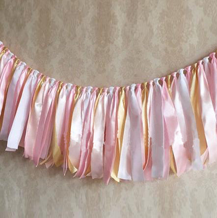 Handmade Girl's Birthday Ribbon Bunting Banner