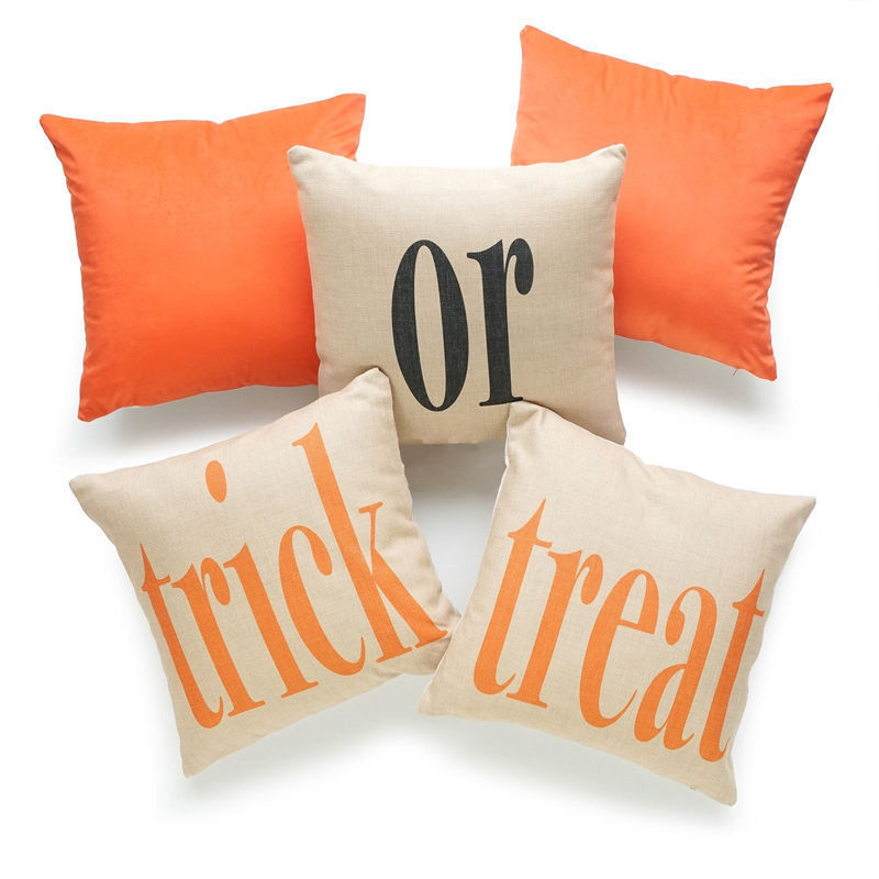 45cm Linen Halloween Themed Throw Pillow Cover
