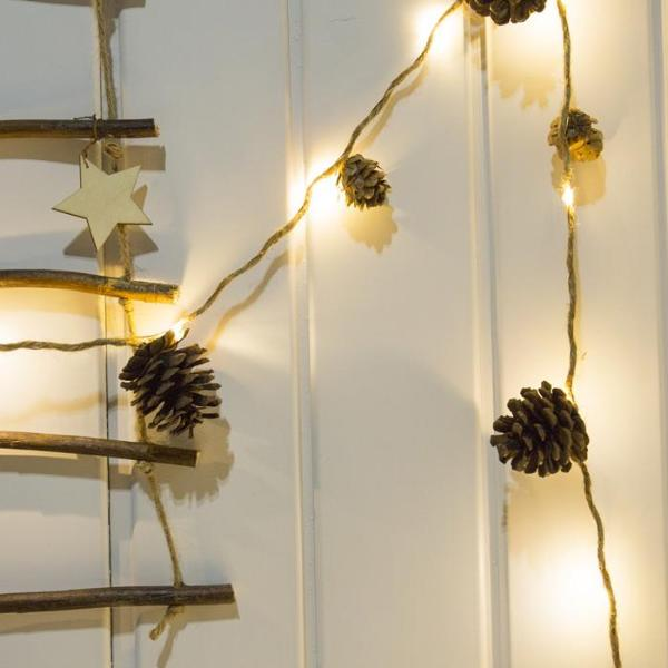 LED Rustic Twin and Pine Cone Fairy Light Christmas Garland