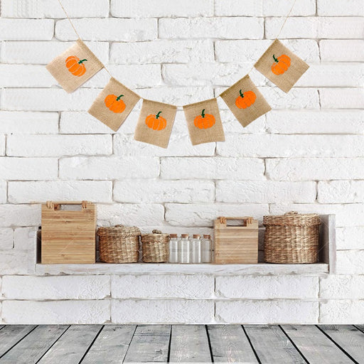 Fall themed pumpkin burlap banner for Thanksgiving or Halloween
