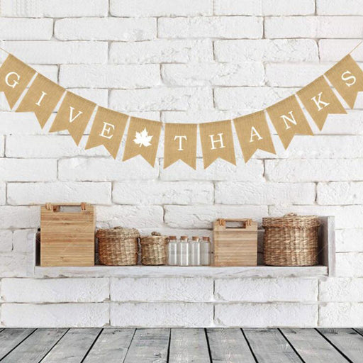 """Give Thanks"" Burlap Thanksgiving Banner"
