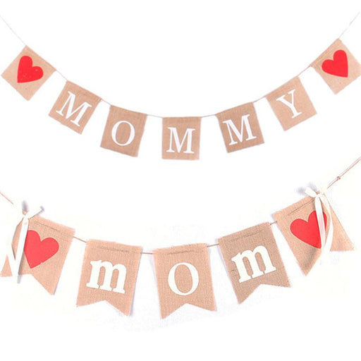 """Mommy/Mom"" Mother's Day burlap banner"