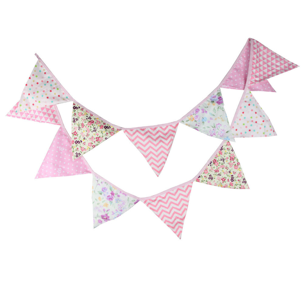 Girl's Birthday Fabric Pennant Flag Bunting Banner