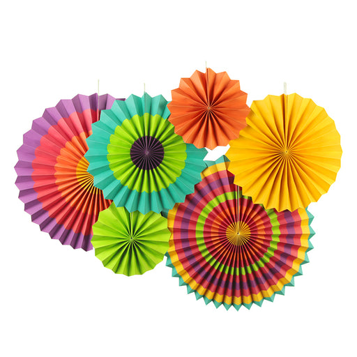 6Pcs Fiesta Themed Cinco De Mayo Fan Decorations