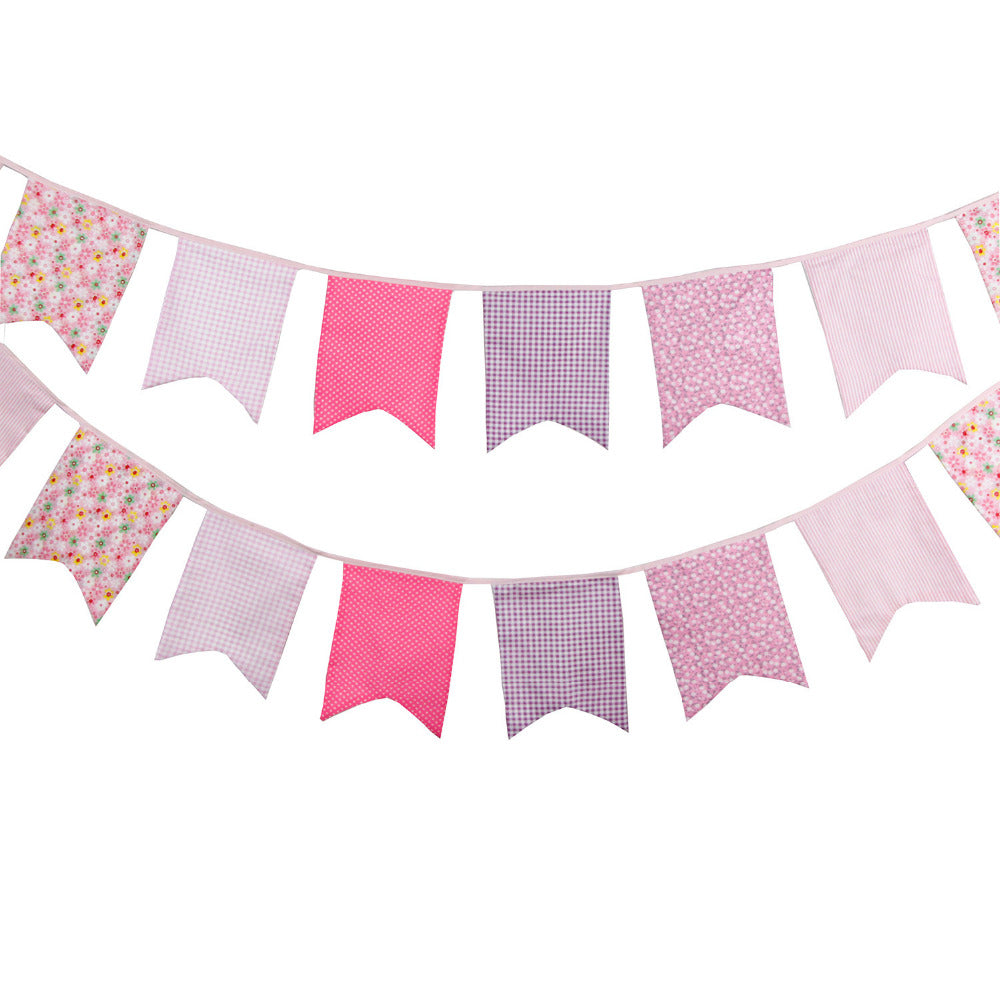 Pink Kid's Birthday Fabric Bunting Banner