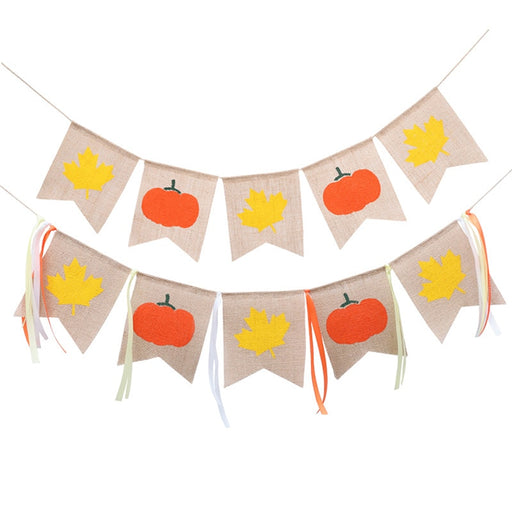 Fall Themed Pumpkin and Leaf Burlap Banner
