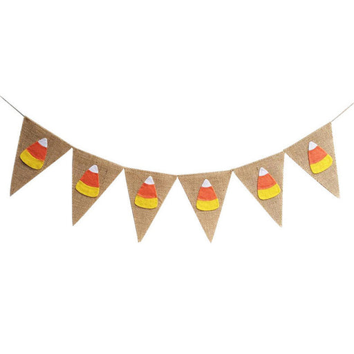 Fall Themed Candy Corn Burlap Banner