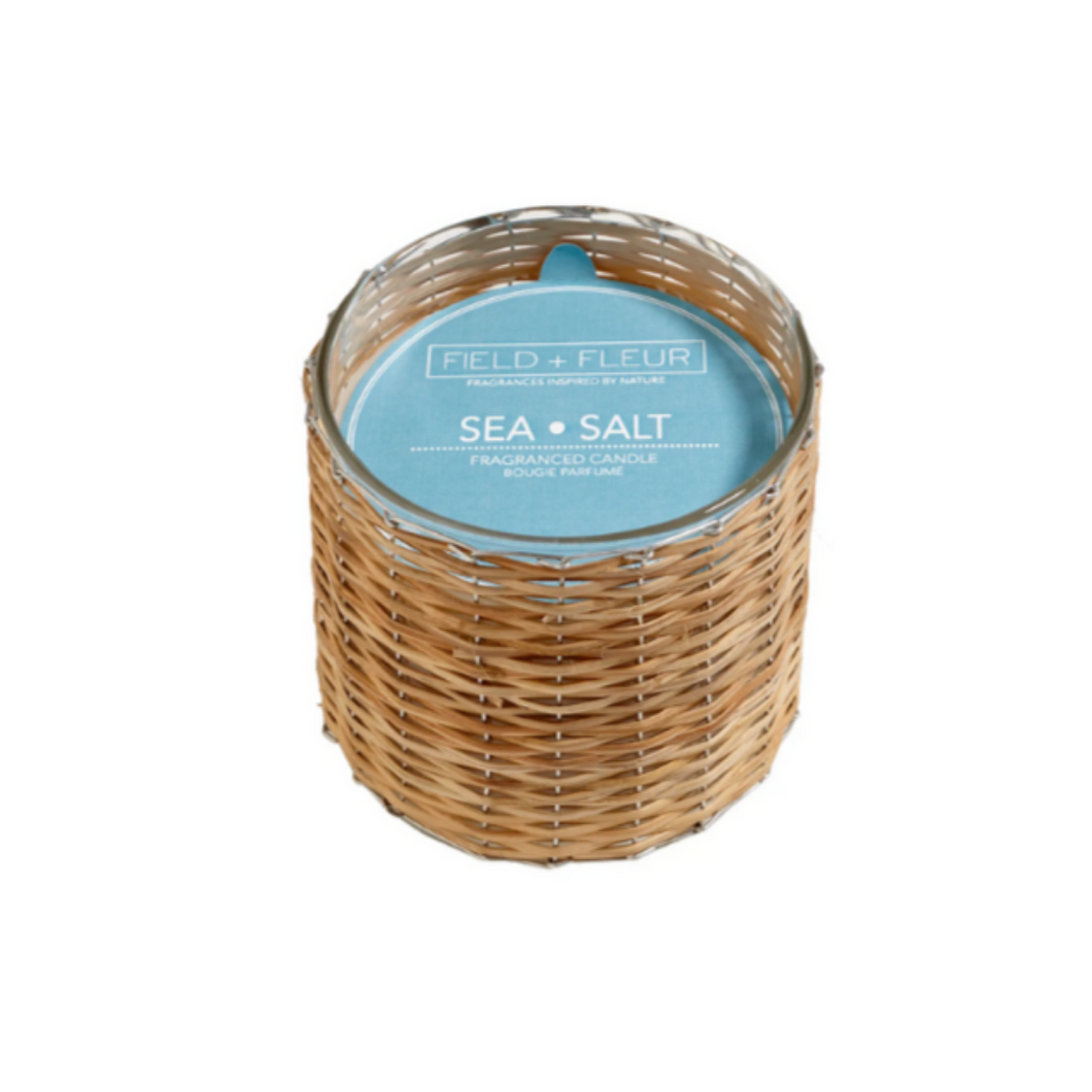 sea salt 2-wick handwoven candle