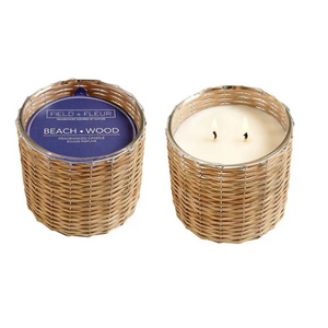beach wood 2-wick handwoven candle