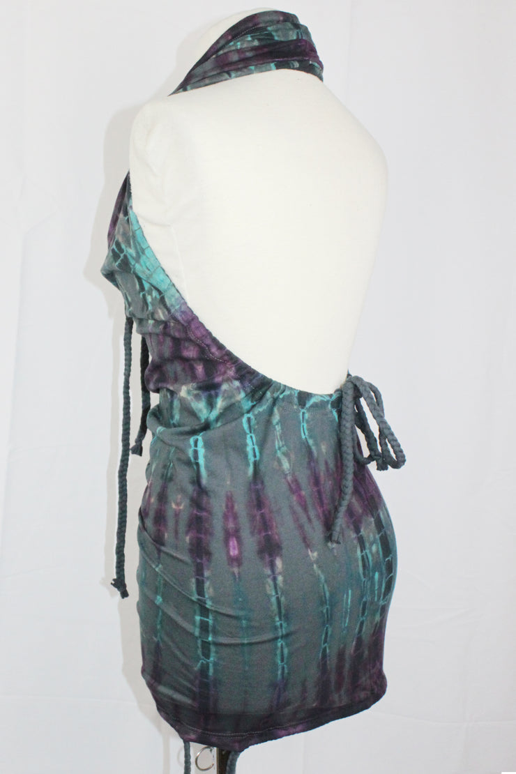 WDO-505C Halter Dress Multi Coloured Tie Dye