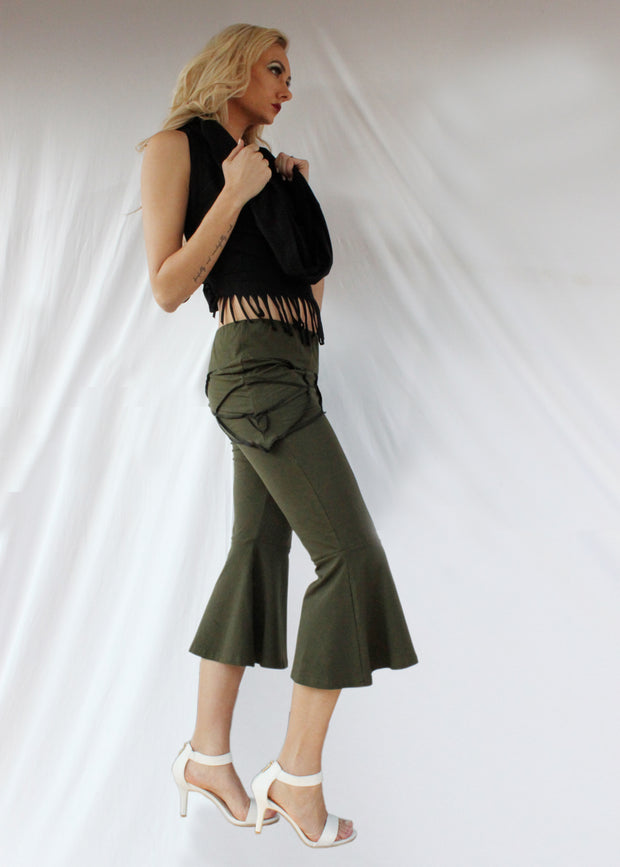 WPO-506 Leaf Skirt Flared Capris