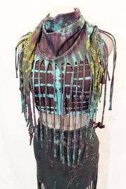 WSO-311B Tie Dyed Wrap Fringe Top Skirt Scarf