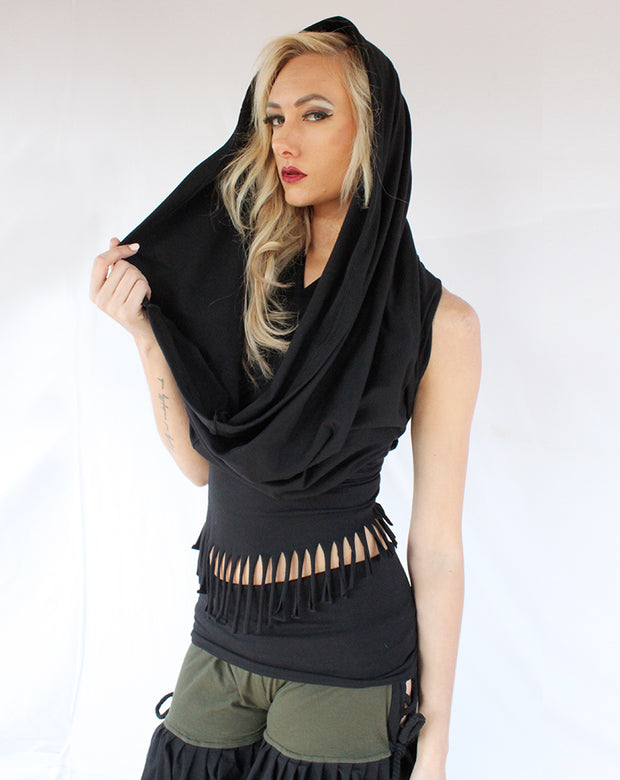 WTO-501 Hooded Sash Top with Fringe