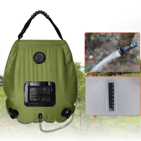 portable Outdoor  camping travel Solar Shower Water Bag camp shower 20L with thermometer