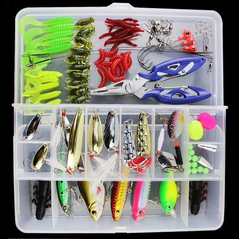 101pcs Lure Kit Set Spinner Crankbait Minnow Popper VIB Paillette Soft Hard Spoon Crank Baits Fishing Hooks Plier Stosh Pesca