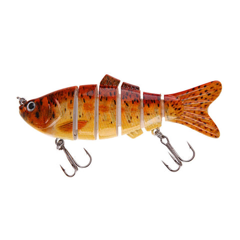 Fishing Lures 6 Segment Lifelike 3D Eyes Swimbait Fishing Hard Bait Lure Crankbait With 2 Hooks Artificial Bait Pesca 5 Colors