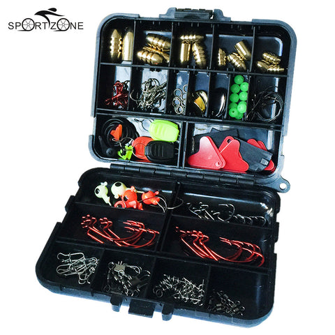 Lixada 128Pcs Fishing Accessories Set Swivels Stoppers Hooks Fish Lures In Storage Box Fishing Tackle Gear Equipment Pesca