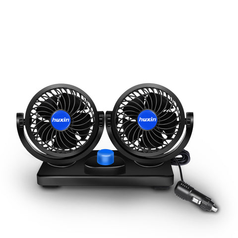 12V 360°Rotation Car Cooling Fan With Dual Head 2 Adjustable Speed for Vehicle Golf Cart Suv Back Seat Boat Baby Pet