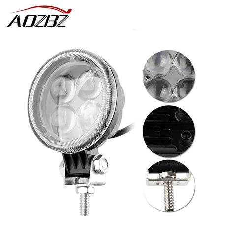Round Work Light Offroad Driving Fog Light Flood Lamp for 4WD SUV ATV 4X4 Boat ATV 12W 4-LED