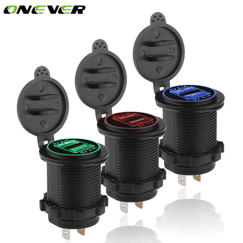 Onever LED 4.2A Dual 2 USB Socket Car Phone Charger Power Adapter Outlet Power 12-24V Chargers for Truck ATV Boat Motorcycle