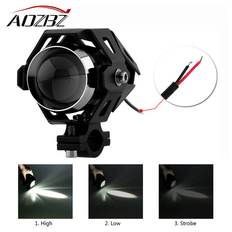 AOZBZ 2PCS U5 LED 125W 3000LM Motorcycle Driving Car styling Fog Headlight Spot Light Headlamp For Car Boat Truck Black