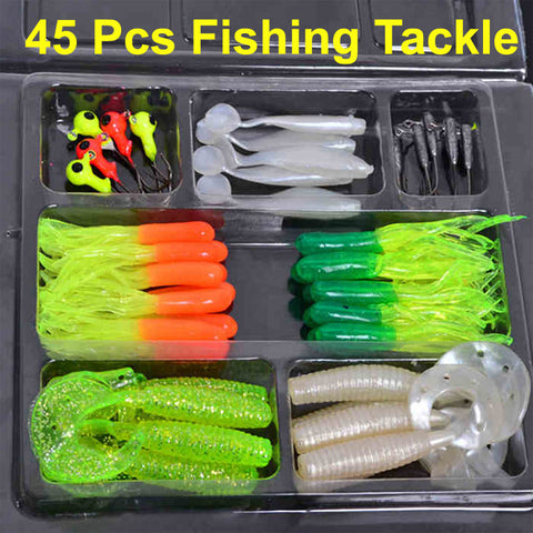 35Pcs Fishing Lure + 10Pcs Hook Fishing Gear Set Simulation Sea Plastic Worm Baits Jig Head Hooks Fishing Tackle Kit Pesca