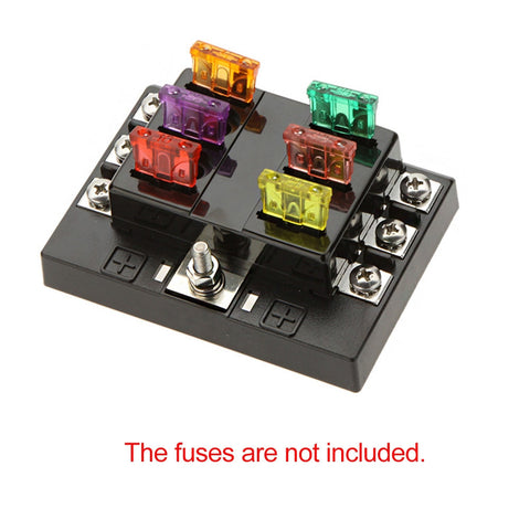 6 Way Circuit 32V DC Blade Fuse Box Block Holder for Auto Car Boat