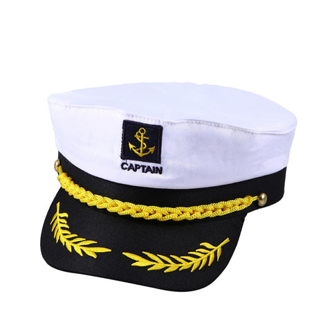 Adult Yacht Boat Ship Sailor Captain Costume Hat Cap Navy Marine Admiral