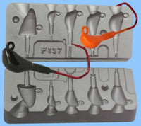 Multi option jig head casting mould. Uses VMC 5150 jig hooks various weights - Caistor Tackle