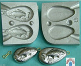 Carp Logo Mould ,Aluminium mould produces 2 pear shaped weights carp embossed