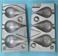 Pear lead Aluminium mould produces 3 pear leads with swivels 100, 150 and 200g