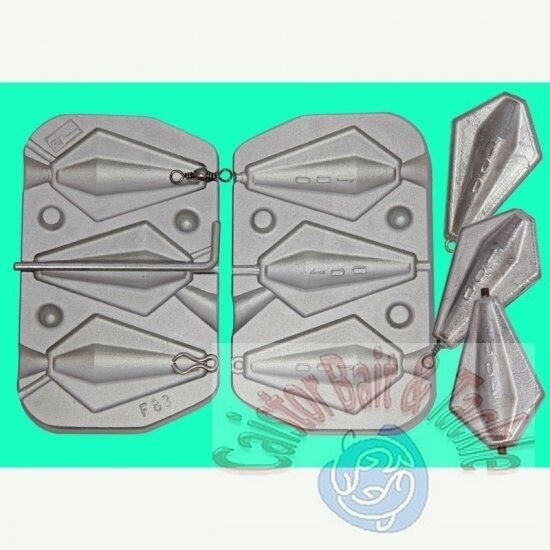 Winged Barrel Mould for 3  leads all 100 grams,1 x swivel,1 x inline 1 x loop - Caistor Tackle
