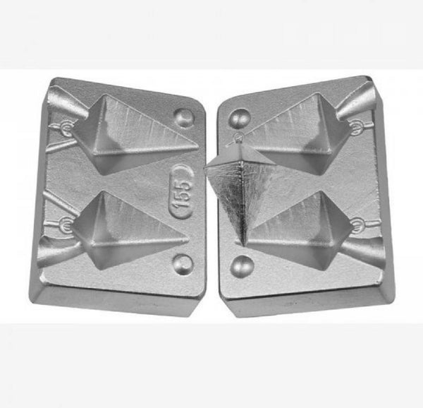 Pyramid Weight Mould for sea fishing,  Aluminium twin mould 80-110gram - Caistor Tackle