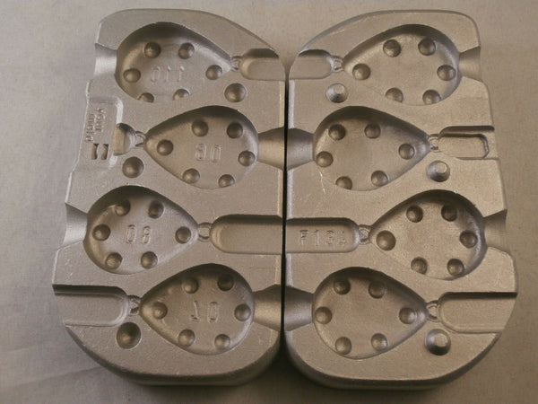 Aluminium Mould for 4 Flat Pear Grippa weights, 70,80,90 and 110 grams