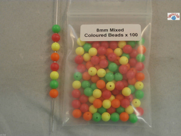 Mixed Coloured Plastic Beads x 100. 5 and 8mm. For rigs jigs and weights - Caistor Tackle