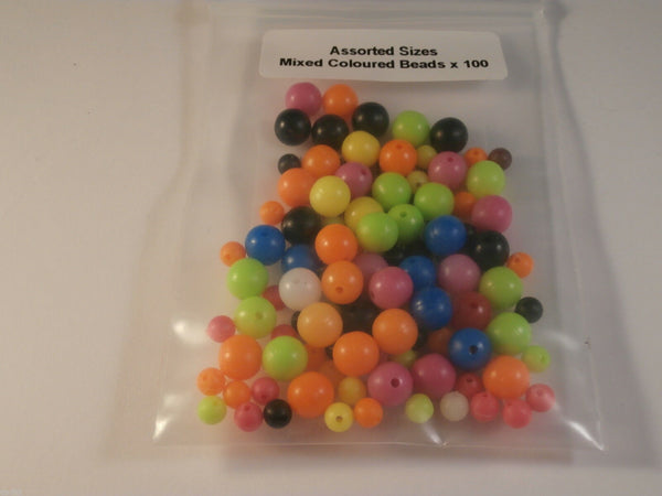 Coloured Beads Mixed  5mm and 8mm x 100 Attractors for Rigs, Lures,Spoons,Jigs