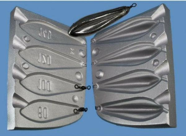Aluminium Mould for a flat bottomed torpedo weight with top fin, Fast water - Caistor Tackle