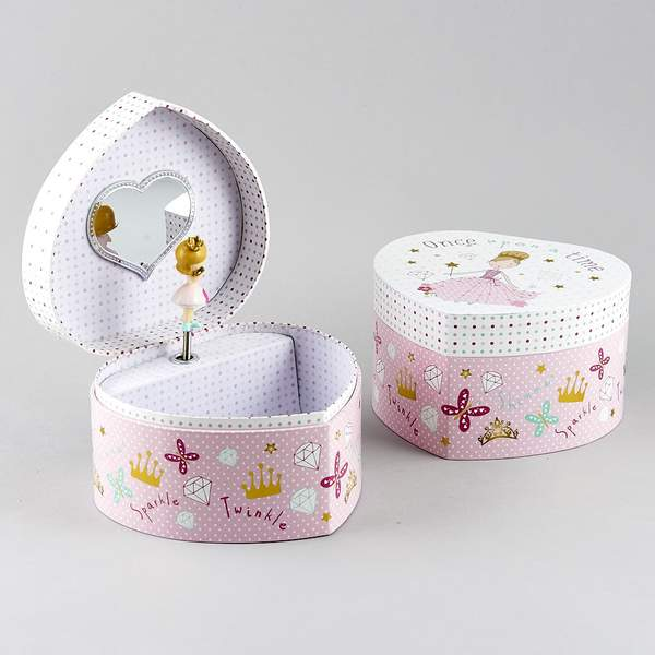 36P2625 MUSICAL JEWELLERY BOX HEART - PRINCESS
