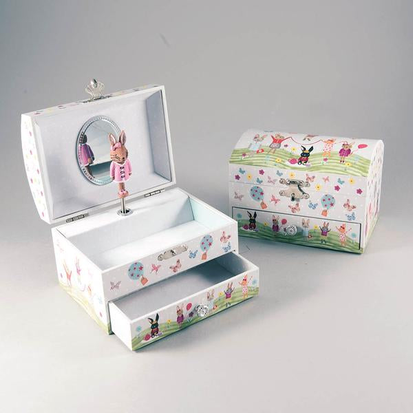 36P2626 MUSICAL JEWELLERY BOX WITH DRAWER - BUNNY