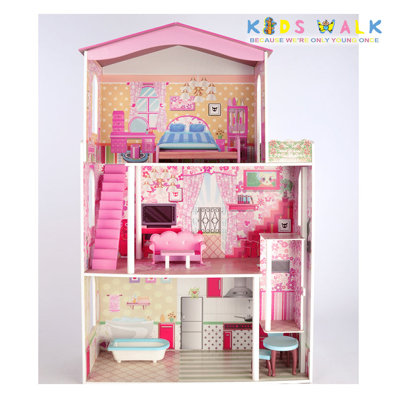 Fc 1052 Grand Mansion Big Wooden Dollhouse Kids Walk