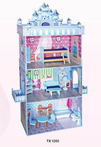 TX1095-BLUE CASTLE DOLLHOUSE