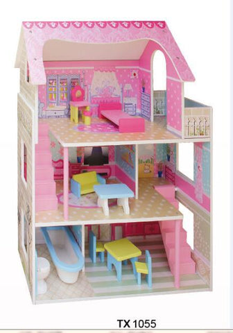 TX1055-3 LEVEL SMALL MANSION DOLLHOUSE