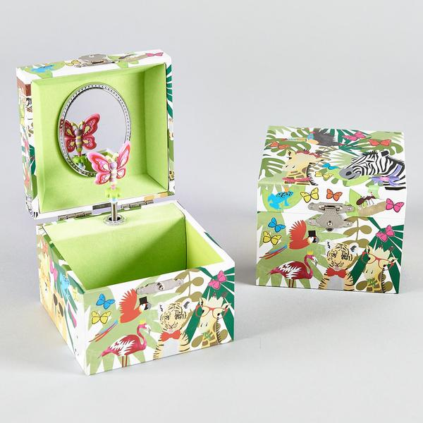 35P2430  MUSICAL JEWELLERY BOX SQUARE - GO WILD