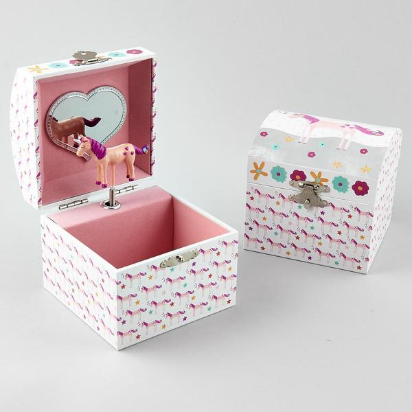 35P2431  MUSICAL JEWELLERY BOX SQUARE - FAIRY UNICORN