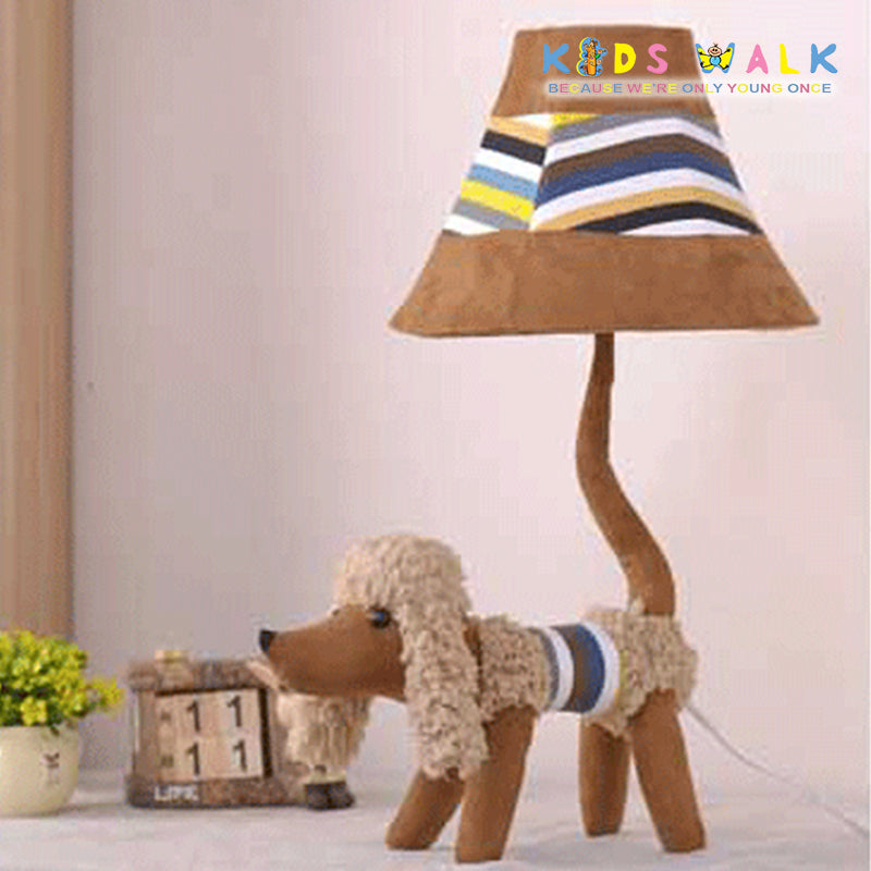 L12-086-35 BROWN POODLE CARTOON CLOTH TABLE LAMP