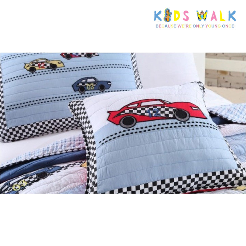 YT 003 RACING CARS BED SPREAD W/ PILLOW CASE
