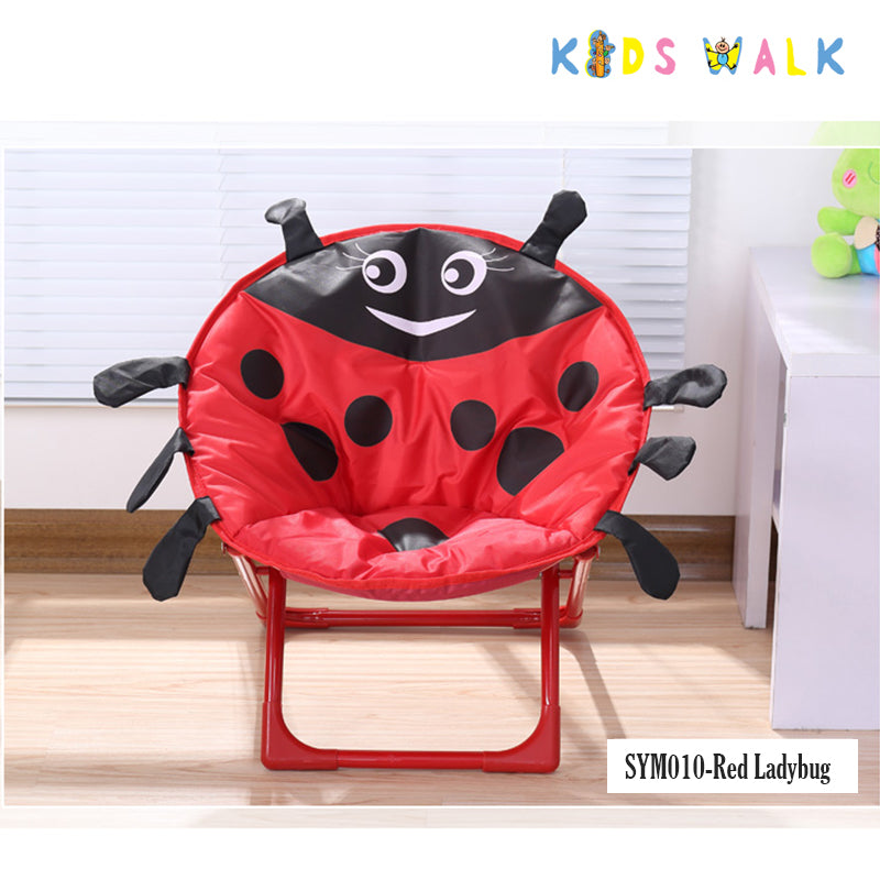 SYM010 KID'S RED LADYBUG FOLDING MOON CHAIR