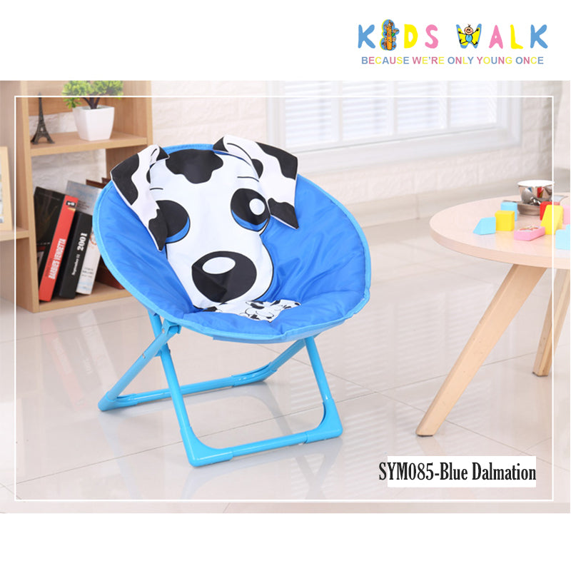 SYM085 KID'S BLUE DALMATIAN FOLDING MOON CHAIR