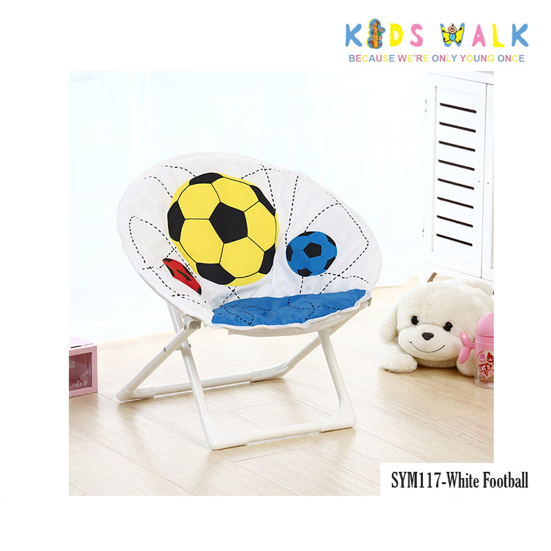 SYM117 KID'S WHITE FOOTBALL FOLDING MOON CHAIR